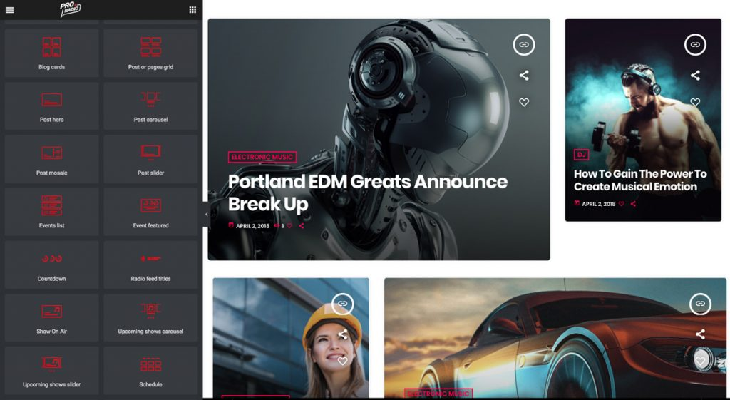 dynamic elementor widgets for radio station wordpress theme