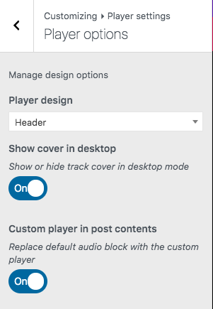 appearance customizations for radio player in wordpress